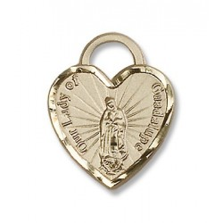 Gold Filled O/L of Guadalupe Heart Pendant