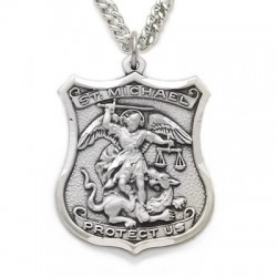 "St. Michael Sterling Silver Shield-Shaped Medal w/24"" chain"