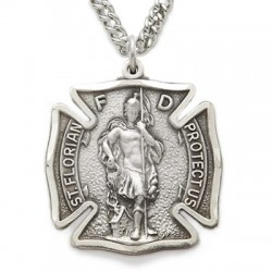 St. Florian Sterling Silver Medal - Firefighter