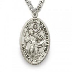 "St. Christopher Sterling Silver Oval Medal w/24"" Chain"