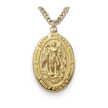 St michael 24k gold over sterling silver oval w20 chain boxed st michael 24k gold over sterling silver oval w20 chain boxed aloadofball Images