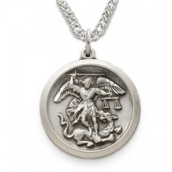"St. Michael Medal Sterling Silver Round w/20"" chain"