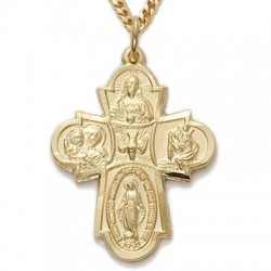 "5-Way Cross 14K Gold Filled Medal w/24"" Chain - Boxed"