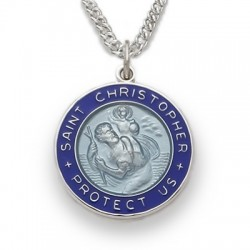 "St. Christopher Sterling Silver Two-Tone Blue Large Round Medal w/20"" Chain"