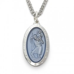 "St. Christopher Sterling Silver Large Blue Oval Medal w/24"" Chain"