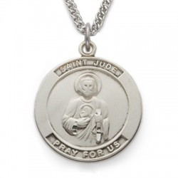 "St. Jude Sterling Silver Medal w/24"" Chain"