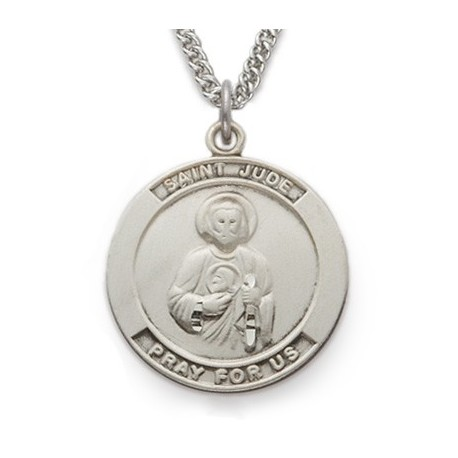"""St. Jude Sterling Silver Medal w/24"""" Chain"""