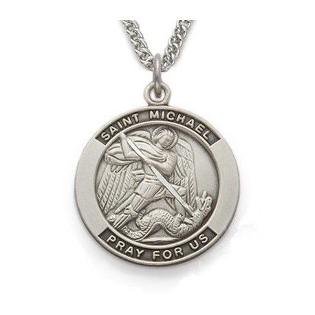 michael saint shield silver necklace st company sterling the catholic medal