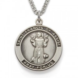 "St. Francis Sterling Silver Medal w/24"" Chain"