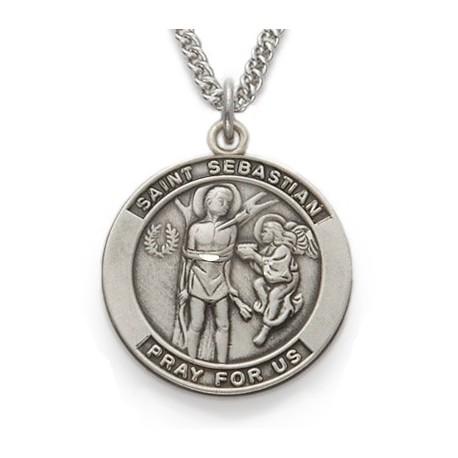 St. Sebastian Sterling Silver Medal Patron Necklace