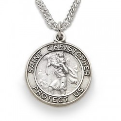 "St. Christopher Sterling Silver Round Medal w/20"" Chain"