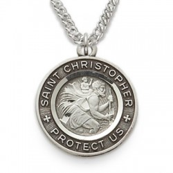 "St. Christopher Sterling Silver Black-Edged Round Medal w/20"" Chain"