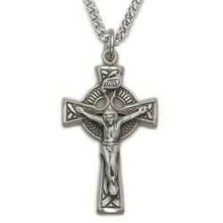 "Mens Celtic Crucifix Sterling Silver w/24"" chain"