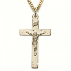 "Mens Crucifix 14K Gold Filled w/24"" Chain - Boxed"