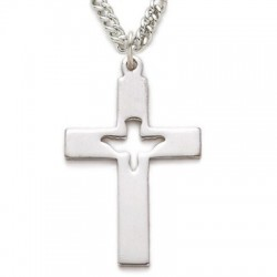 "CZ Jewel Fashion Cross Sterling Silver Holy Spirit Cut Out w/ 24"" Chain - Boxed"