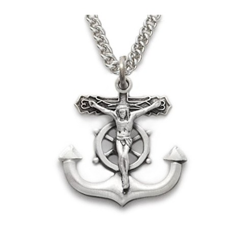 Mens anchor crucifix sterling silver cross jesus christ a m mens anchor crucifix sterling silver cross jesus christ aloadofball Images