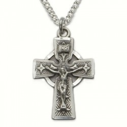 "Mens Celtic Crucifix Sterling Silver w/18"" chain"