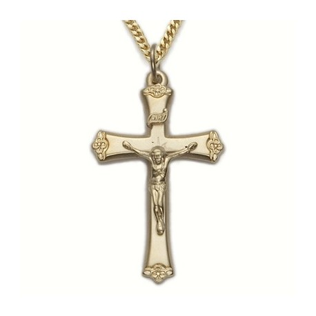 """Mens Crucifix 24K Gold Over Sterling Silver w/24"""" Chain - Boxed"""