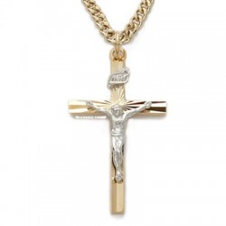 "Mens Crucifix 24K Gold Over Sterling Silver w/24"" Chain - Boxed"