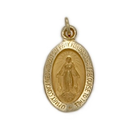 Miraculous Medal 14K Gold Small Oval Medal - not available