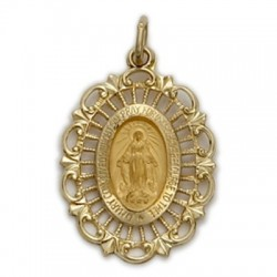Miraculous Medal 14K on Gold Field Medium Oval Medal