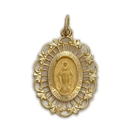 Miraculous Medal 14K Gold on Gold Field Medium Oval Medal - not available