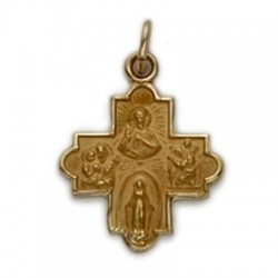 4-Way Cross 14K Gold w/Jesus, Mary, St. Joseph, St. Christopher
