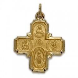 4-Way Cross 14K Gold w/Jesus, Mary, St. Joseph, St. Christopher - Medium