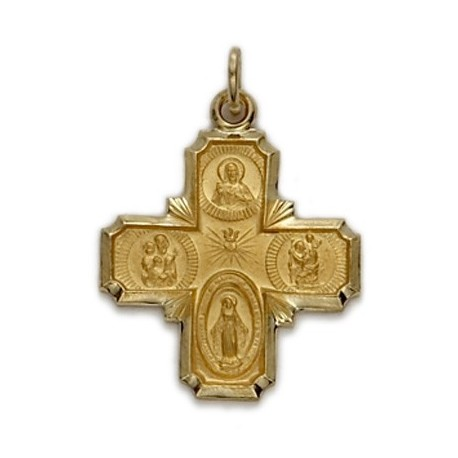 4-Way Cross 14K Gold w/Jesus, Mary, St. Joseph, St. Christopher - Medium