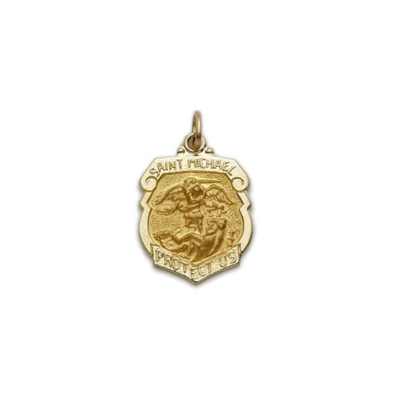 St michael police 14k gold medal patron necklace a m religious st michael 14k gold police shield medal aloadofball Image collections