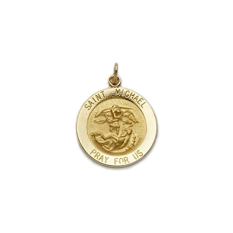 St michael 14k gold medal necklace patron a m religious gifts st michael 14k gold round medal mozeypictures Image collections