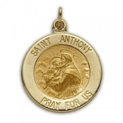 St. Anthony 14K Gold Round Medal