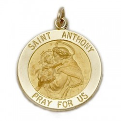 St. Anthony 14K Gold Large Round Medal