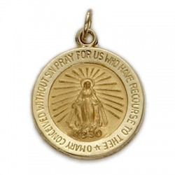 Miraculous Medal 14K Gold Medium Round Medal