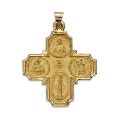 4-Way Cross 14K Gold w/Jesus, Mary, St. Joseph, St. Christopher - Large