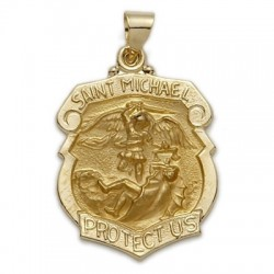 St. Michael 14K Gold Police Shield-Shaped Medal