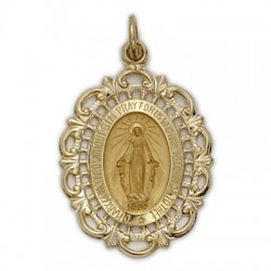 Oval-shaped 14K Gold Miraculous Medal on Gold Field - Large