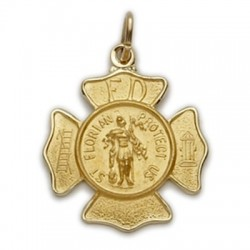 St. Florian 14K Gold Medal - Firefighter