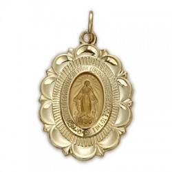 Oval-shaped 14K Gold Miraculous Medal on Gold Field