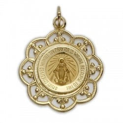 Round-shaped 14K Gold Miraculous Medal on Gold Field - not available