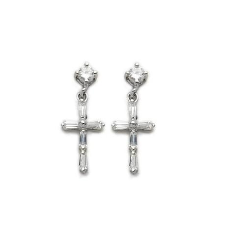 Cross Shaped Sterling Silver CZ Amethyst Earrings