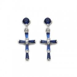 CZ Sapphire Earrings Sterling Silver