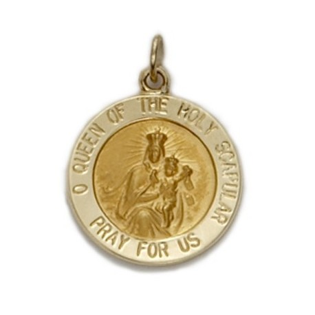 Scapular Sacred Heart 14K Gold Round Medal