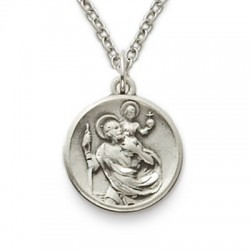 "St. Christopher Sterling Silver Round Medal w/18"" Chain"