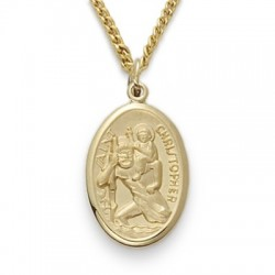 "St. Christopher 14K Gold Filled Oval Medal w/18"" Chain"
