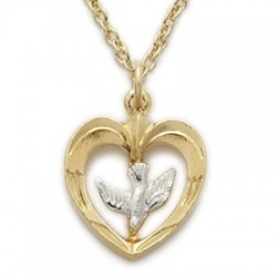"Gold Heart Shaped with Holy Spirit Dove Necklace 14K Gold Filled w/18"" Chain - Boxed"
