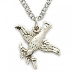 "Holy Spirit Dove with Leaf Necklace Sterling Silver w/18"" Chain - Boxed"
