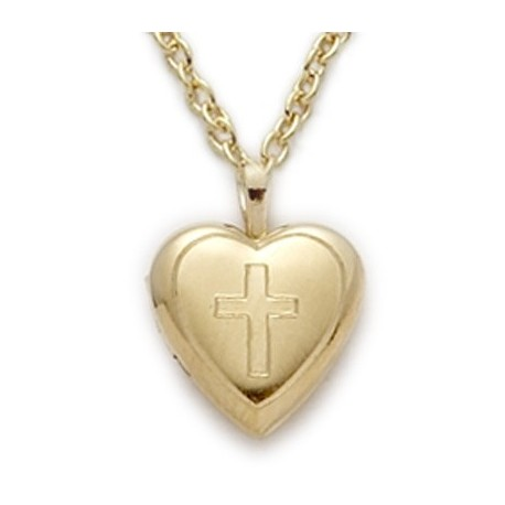 "Heart Shaped Engraved Locket 14K Gold Filled Necklace w/18"" Chain - Boxed"