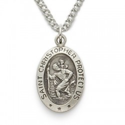 """St. Christopher Sterling Silver Oval Medal w/18"""" Chain"""