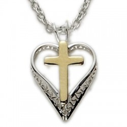 "Gold Cross on Heart Sterling Silver Necklace w/18"" Chain - Boxed"
